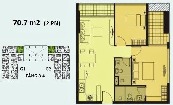 Căn 2 phòng ngủ diện tích 70.7m2