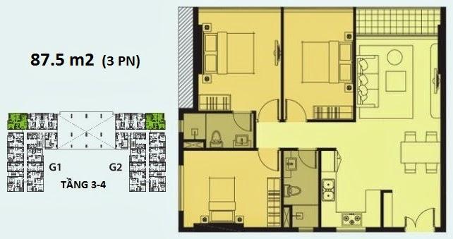 Căn hộ Galaxy 9 3 phòng ngủ, diện tích 87.5m2