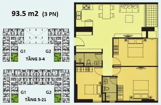Căn 3 phòng ngủ diện tích 93.5m2